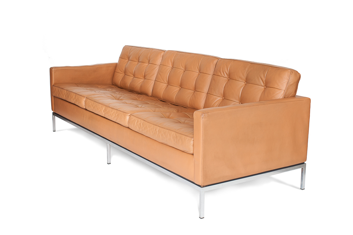 3 Seater Leather Sofa   Florence Knoll   Knoll Int (View 11 of 15)