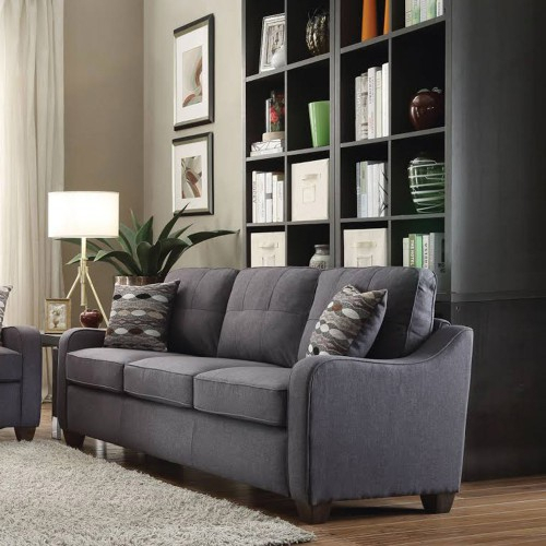 3 Seats Gray Linen Sectional Sofa Reversible Upholstery 2 With Clifton Reversible Sectional Sofas With Pillows (View 10 of 15)