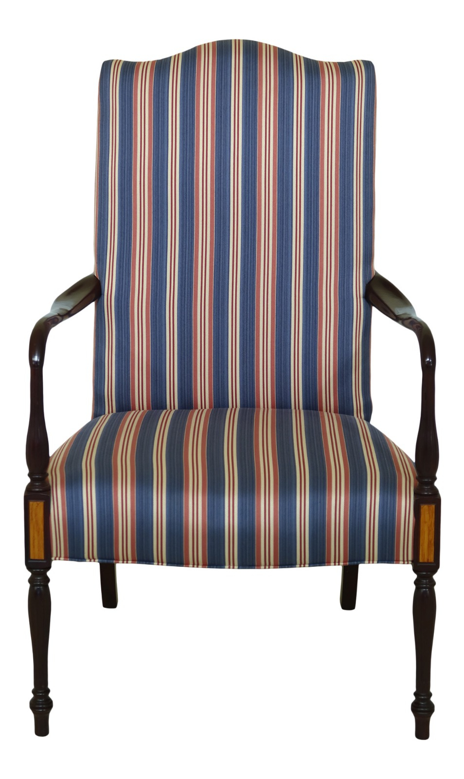 32166Ec: Sheraton Mahogany Striped Upholstered Lolling For Striped Sofas And Chairs (View 2 of 15)