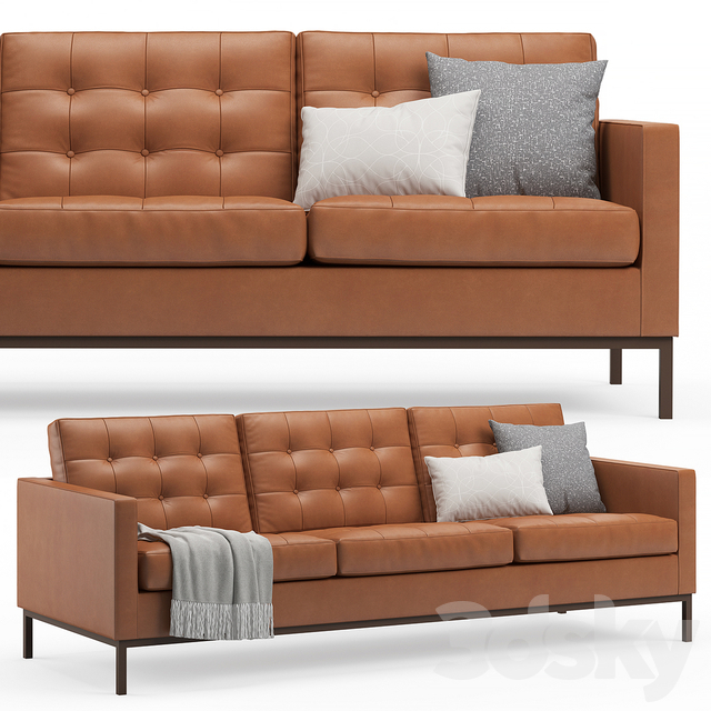 3D Models: Sofa – Florence Knoll Leather Sofa With Regard To Florence Sofas And Loveseats (View 14 of 15)