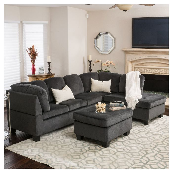 3Pc Canterbury Sectional Sofa Set – Christopher Knight Throughout Canterbury Leather Sofas (View 10 of 12)
