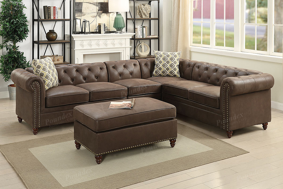 4 Pcs Modular Sectional F6546 – Furniture Mattress Los Intended For Celine Sectional Futon Sofas With Storage Camel Faux Leather (View 8 of 15)