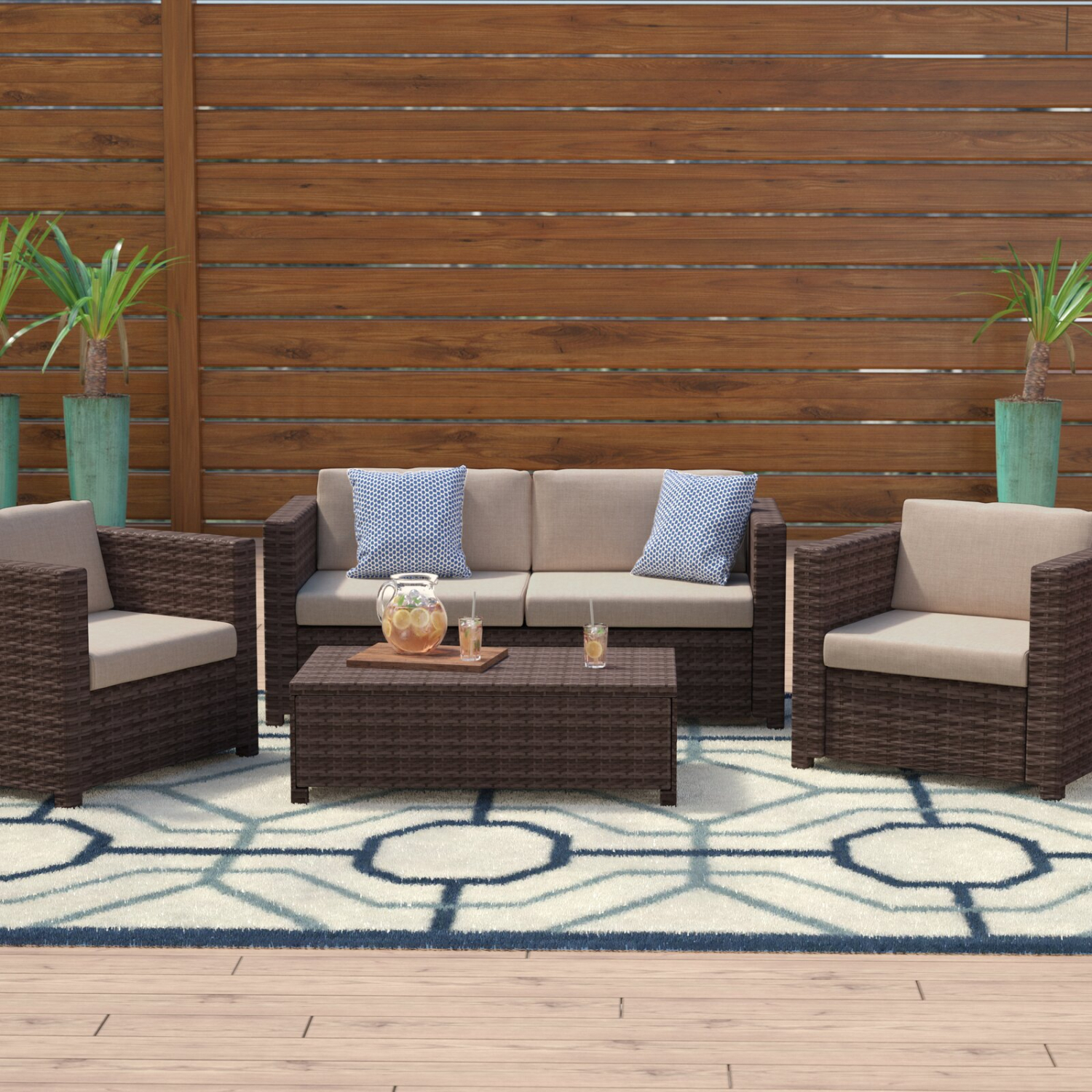 4 Piece Patio Furniture Set Brown Rattan Sofa Seating With Regard To Sofa With Chairs (View 13 of 15)
