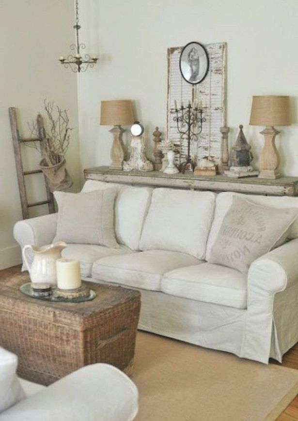 42+ Comfy Farmhouse Shabby Chic Living Room Decor Ideas Throughout Shabby Chic Sofas (View 10 of 15)