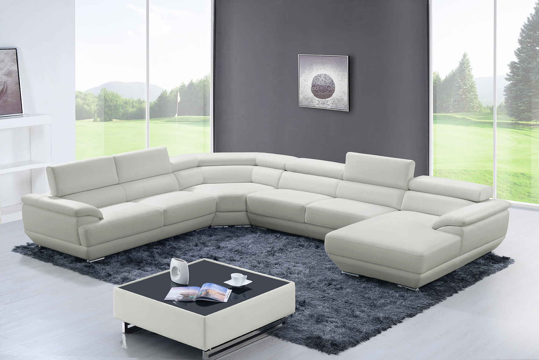 430 Sectional Off White, Sectionals, Living Room Furniture Within Sectional Sofas In White (View 3 of 15)