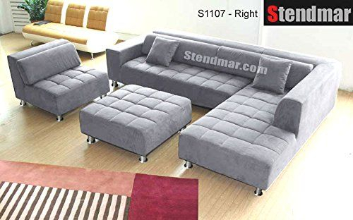 4Pc Modern Grey Microfiber Sectional Sofa Chaise Chair Intended For 4Pc Beckett Contemporary Sectional Sofas And Ottoman Sets (View 12 of 15)