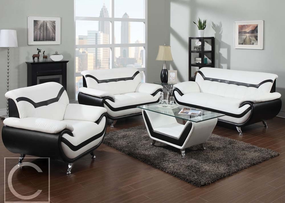 4Pc Rozene Premium White Bonded Leather Sofa + Loveseat Regarding 4Pc Beckett Contemporary Sectional Sofas And Ottoman Sets (View 8 of 15)