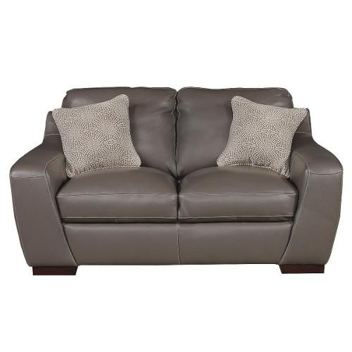 """68"""" Slate Leather Loveseat   Leather Loveseat, Love Seat With Regard To Gneiss Modern Linen Sectional Sofas Slate Gray (View 9 of 15)"""