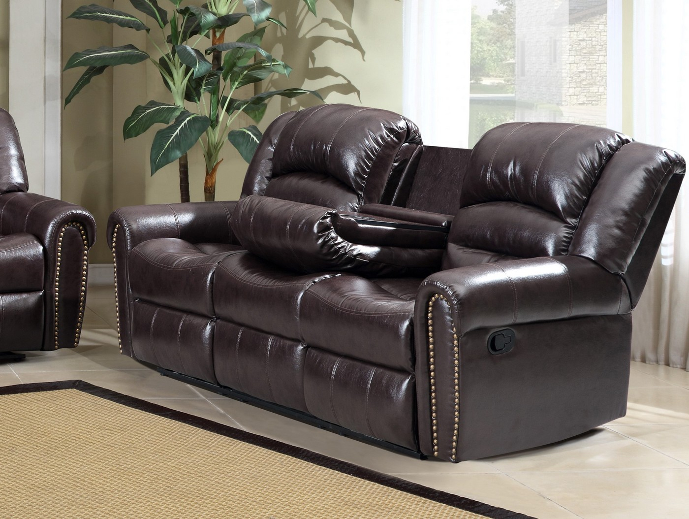 684 Brown Leather Reclining Sofa With Console And Nailhead With Regard To Brown Sofa Chairs (View 13 of 15)