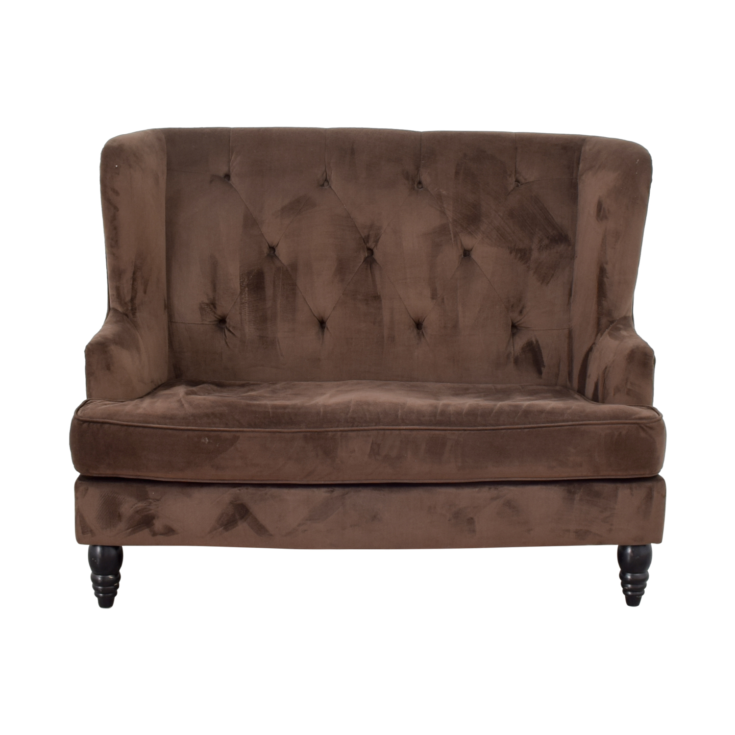 73% Off – Cb2 Cb2 Brown Tufted High Back Loveseat / Sofas Regarding Sofas With High Backs (View 8 of 15)
