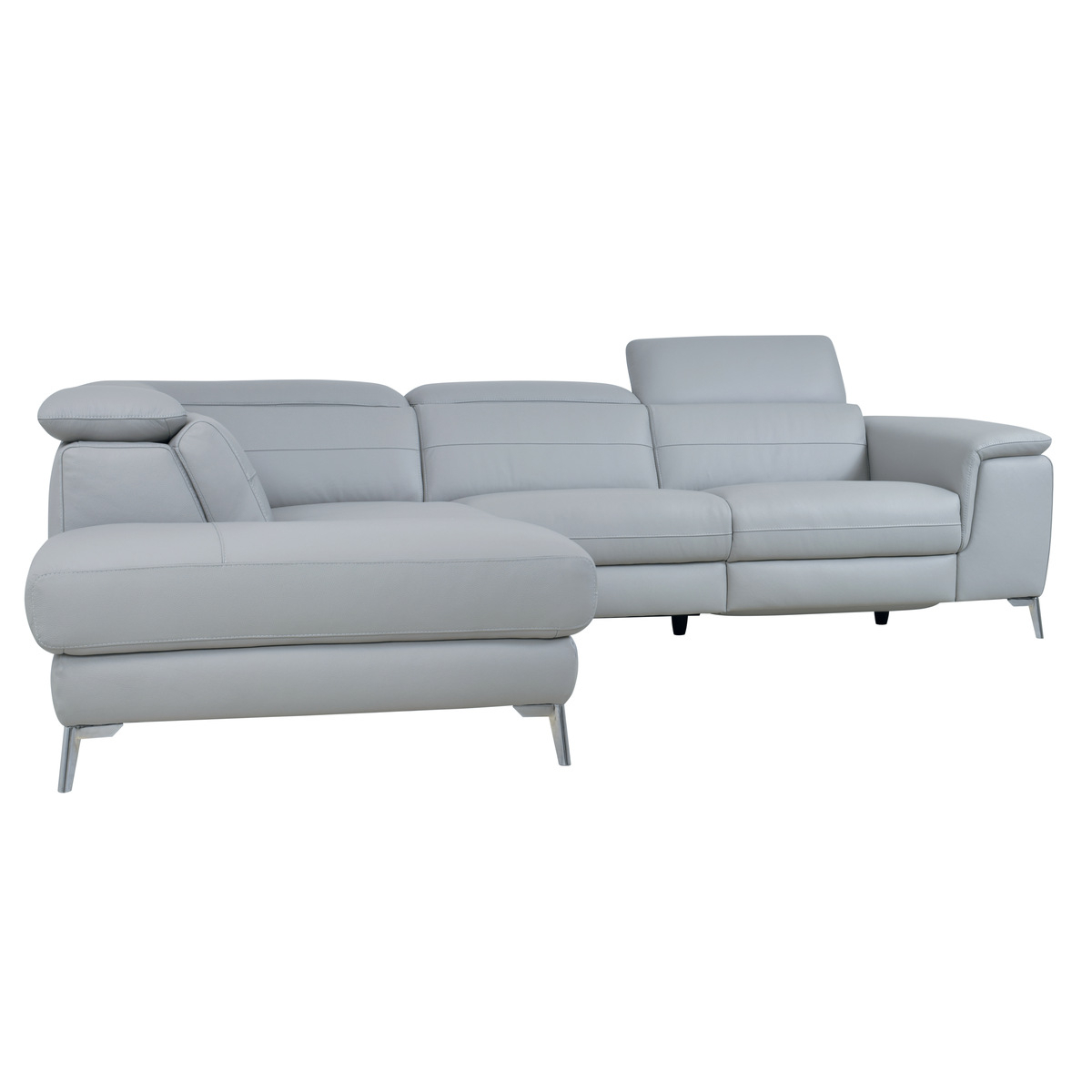 8256Gylss 2 Piece Sectional With Left Chaise, Light Grey For 2Pc Crowningshield Contemporary Chaise Sofas Light Gray (View 10 of 15)