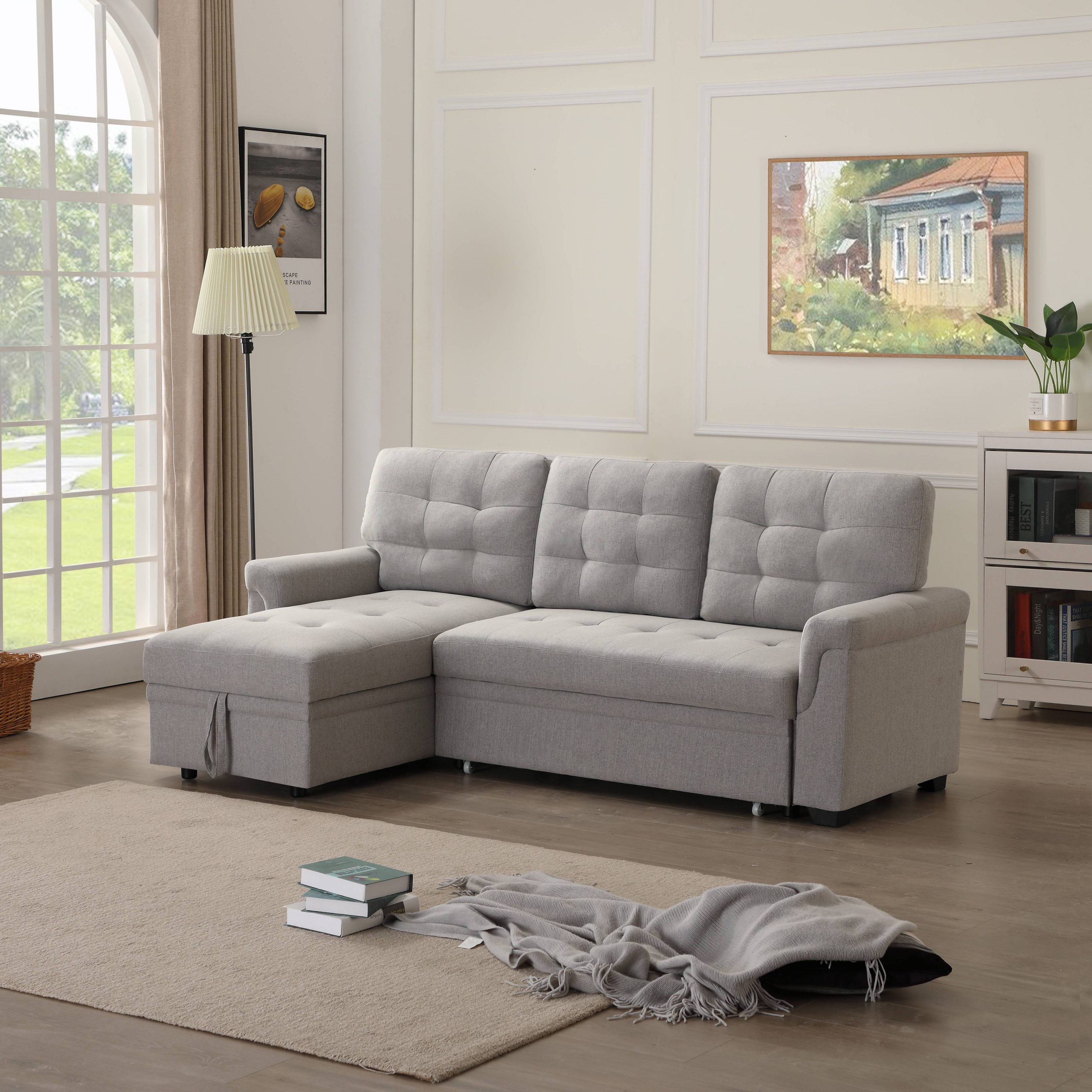 """86""""W Modern Sectional Sofa Bed With Reversible Chaise, L With Regard To Easton Small Space Sectional Futon Sofas (View 11 of 15)"""