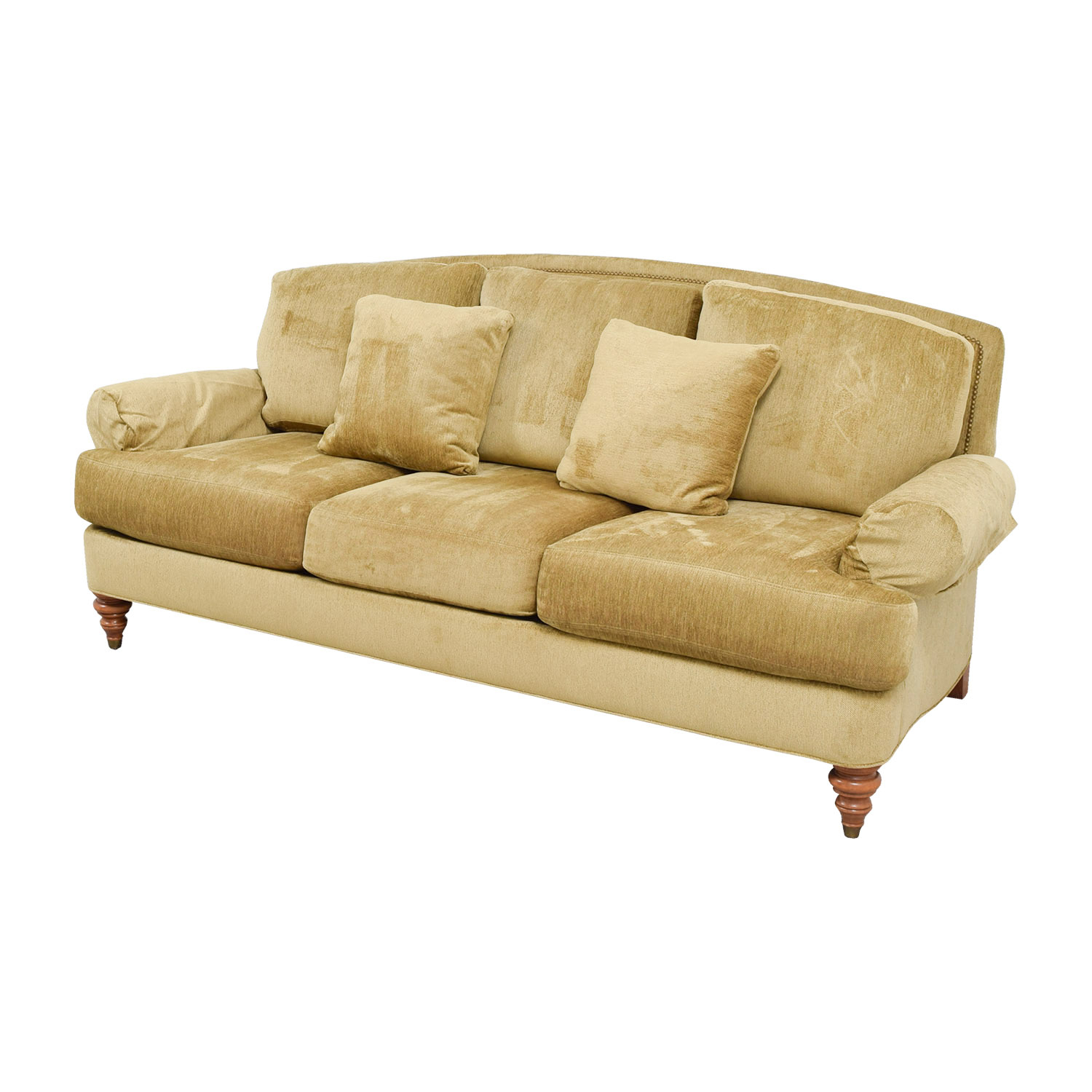 90% Off – Ethan Allen Ethan Allen Hyde Gold Three Cushion Throughout Ethan Allen Sofas And Chairs (View 2 of 15)