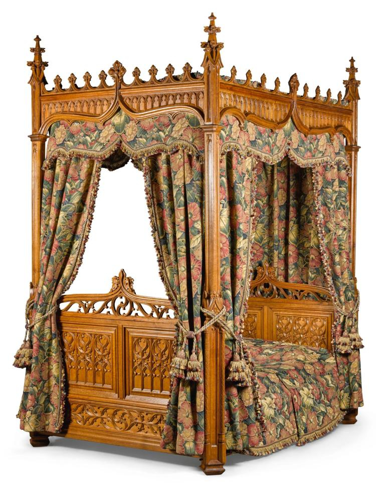 A French Gothic Revival Tester Bed Circa 1880 With Gothic Sofas (View 3 of 15)