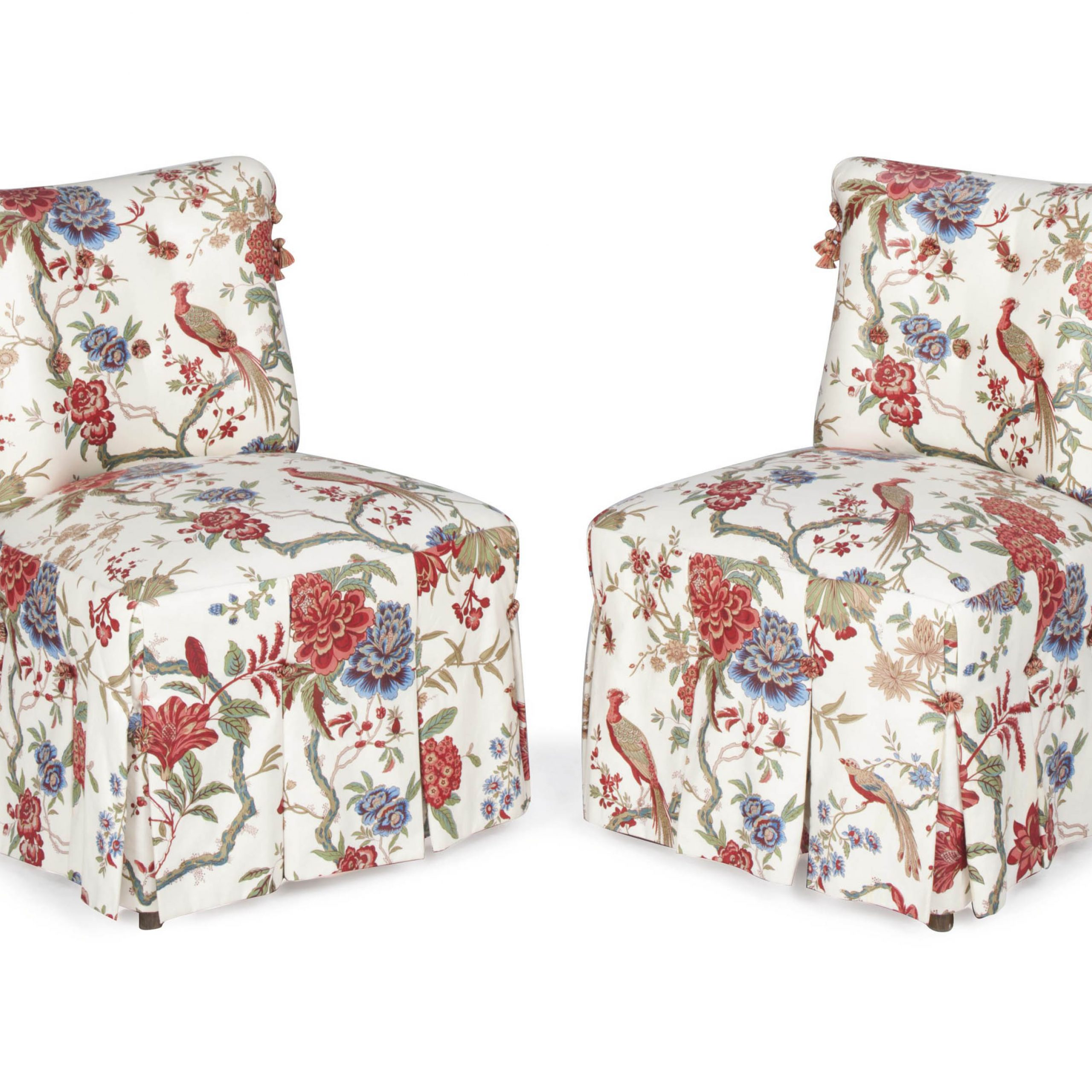 A Pair Of Cream Ground Floral Chintz Upholstered Slipper Intended For Chintz Floral Sofas (View 15 of 15)