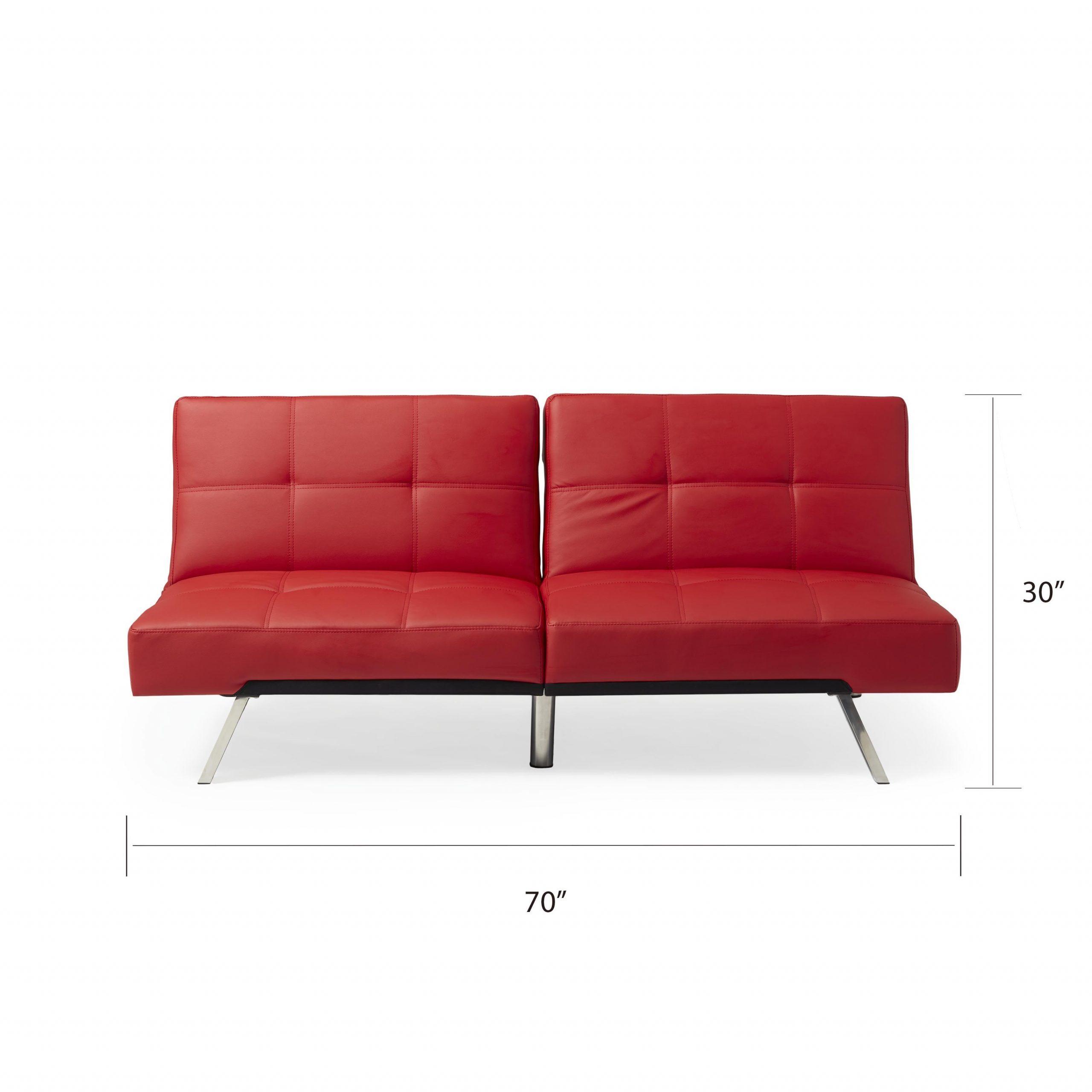Abbyson Aspen Red Bonded Leather Foldable Futon Sleeper With Regard To Aspen Leather Sofas (View 1 of 15)