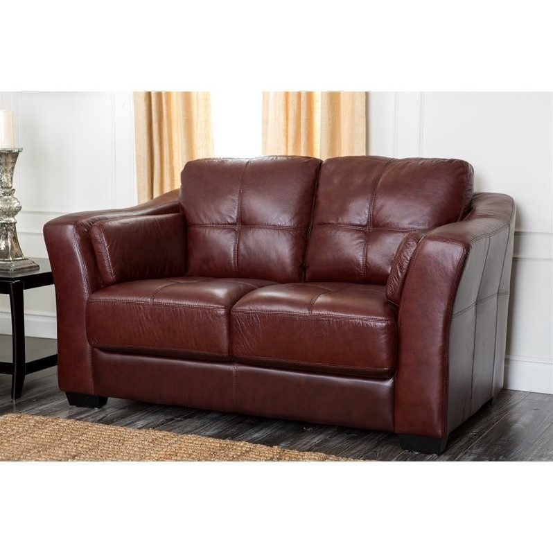 Abbyson Florence Leather Loveseat In Burgundy – Ci H130 Brg 2 Pertaining To Florence Sofas And Loveseats (View 3 of 15)