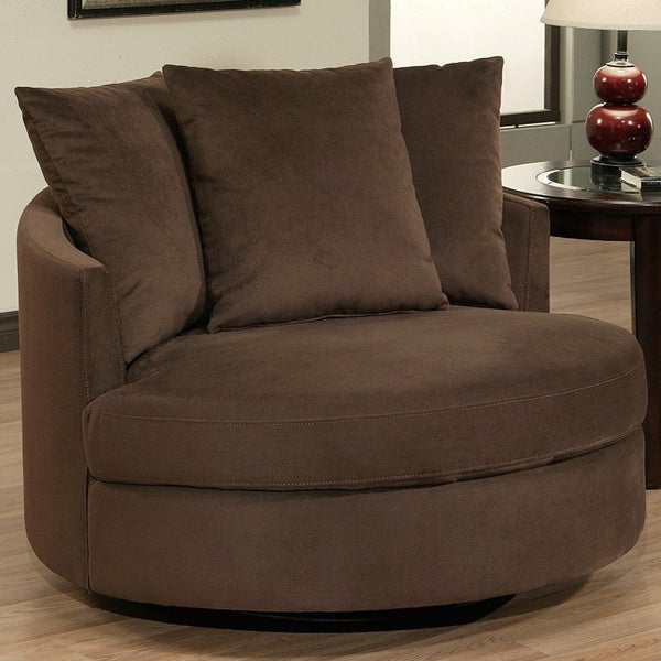 Abbyson Living Clarence Round Fabric Swivel Chair With Regard To Round Swivel Sofa Chairs (View 14 of 15)