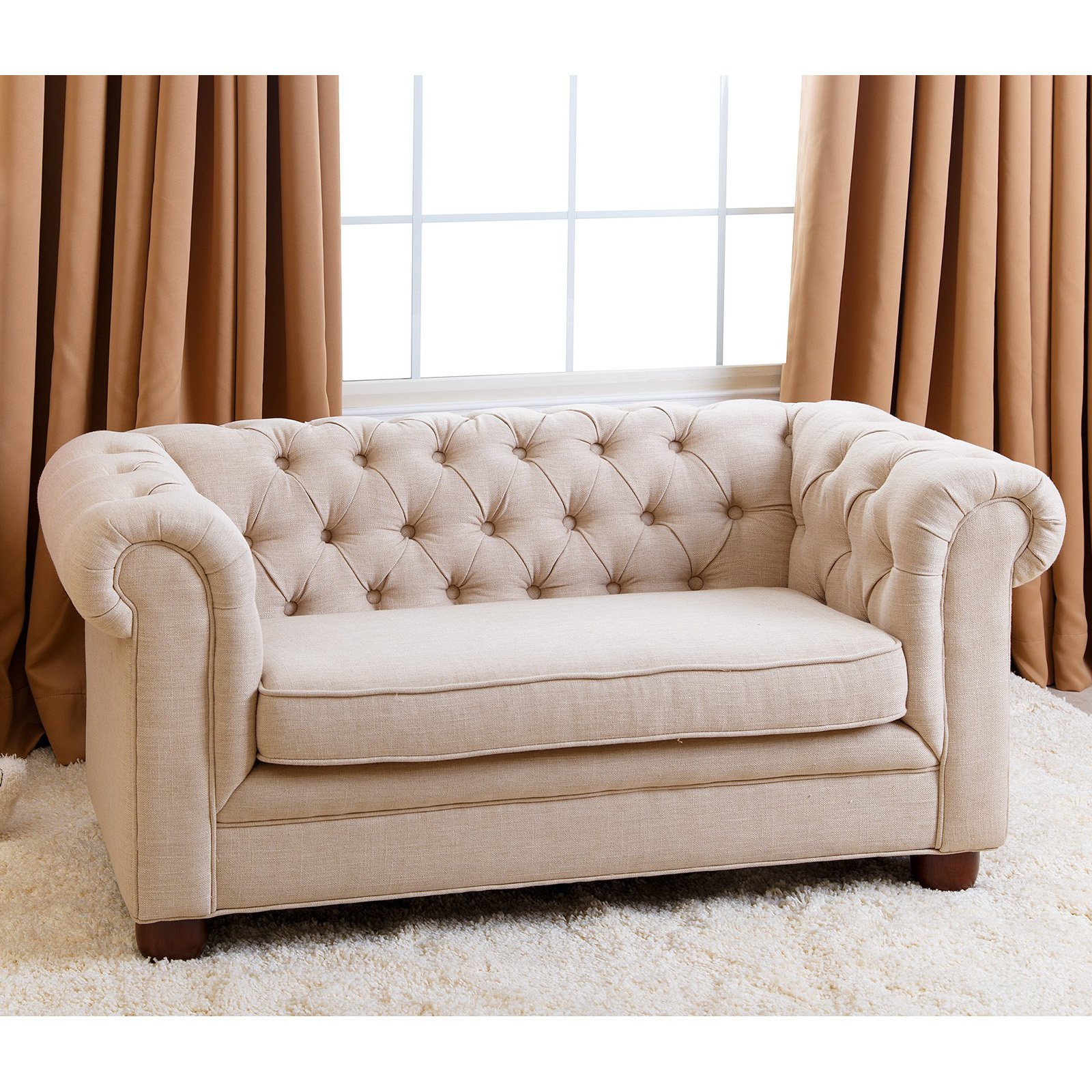Abbyson Living Rj Mini Chesterfield Sofa – Wheat – Kids With Sofa Chairs For Bedroom (View 7 of 15)