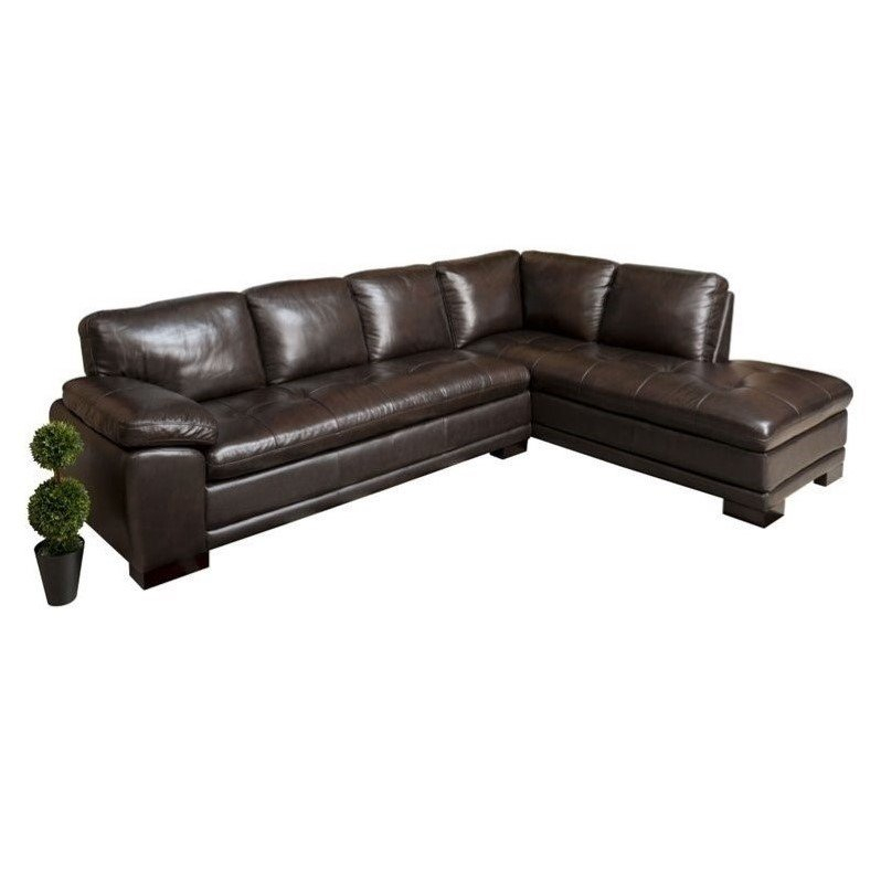 Abbyson Tekana Leather Sectional In Dark Brown – Ci N680 Brn For Bonded Leather All In One Sectional Sofas With Ottoman And 2 Pillows Brown (View 15 of 15)
