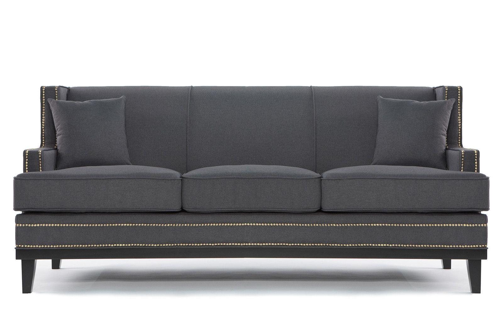 Abe Modern Nailhead Trim Linen Sofa   Linen Sofa, Sofa Inside Radcliff Nailhead Trim Sectional Sofas Gray (View 7 of 15)