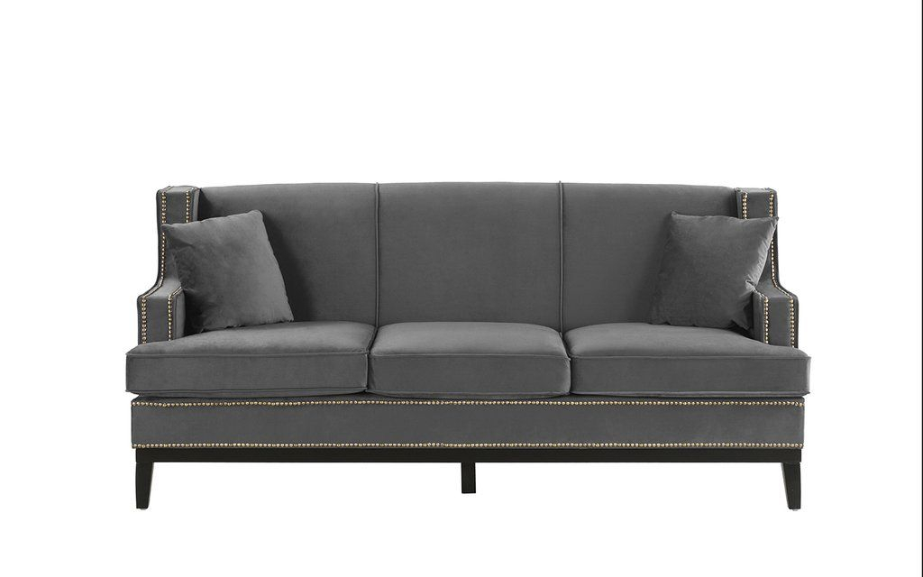 Abe Old Hollywood Nailhead Trim Velvet Sofa   Grey Velvet With Radcliff Nailhead Trim Sectional Sofas Gray (View 4 of 15)