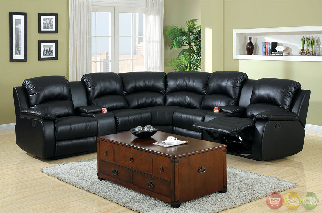 Aberdeen Black Bonded Leather Sectional Sofa Set W/Cup Holders In Wynne Contemporary Sectional Sofas Black (View 13 of 15)