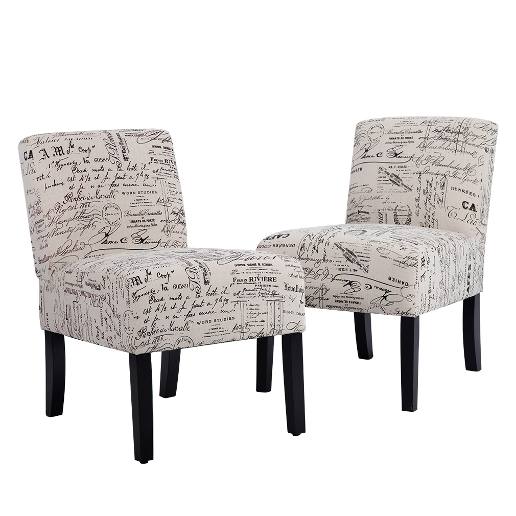 Accent Chair Sofa Club Side Upholstered Letter Print With Regard To Sofa Arm Chairs (View 7 of 15)