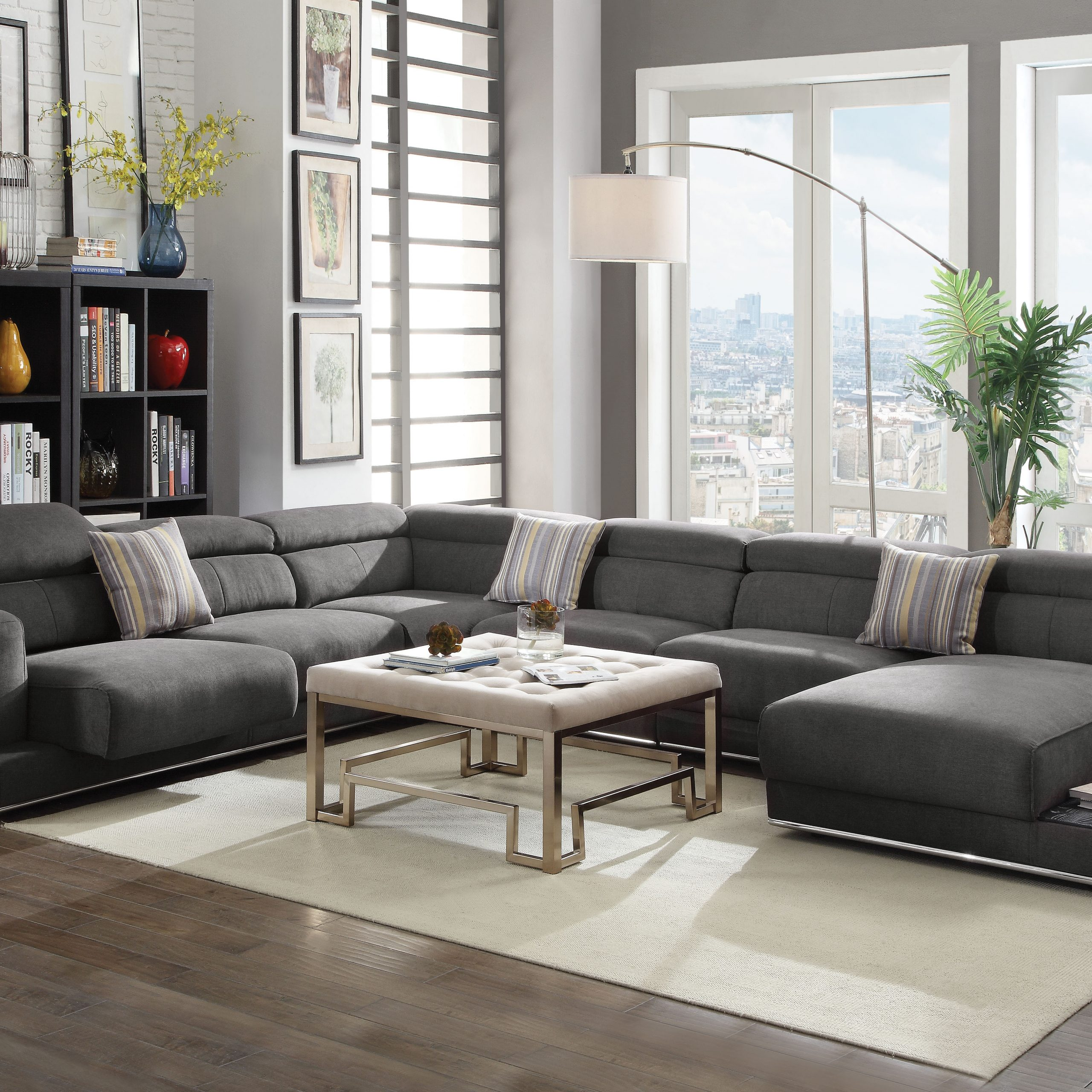 Acme Alwin Sectional Sofa In Dark Gray Fabric Upholstery With Polyfiber Linen Fabric Sectional Sofas Dark Gray (View 12 of 15)