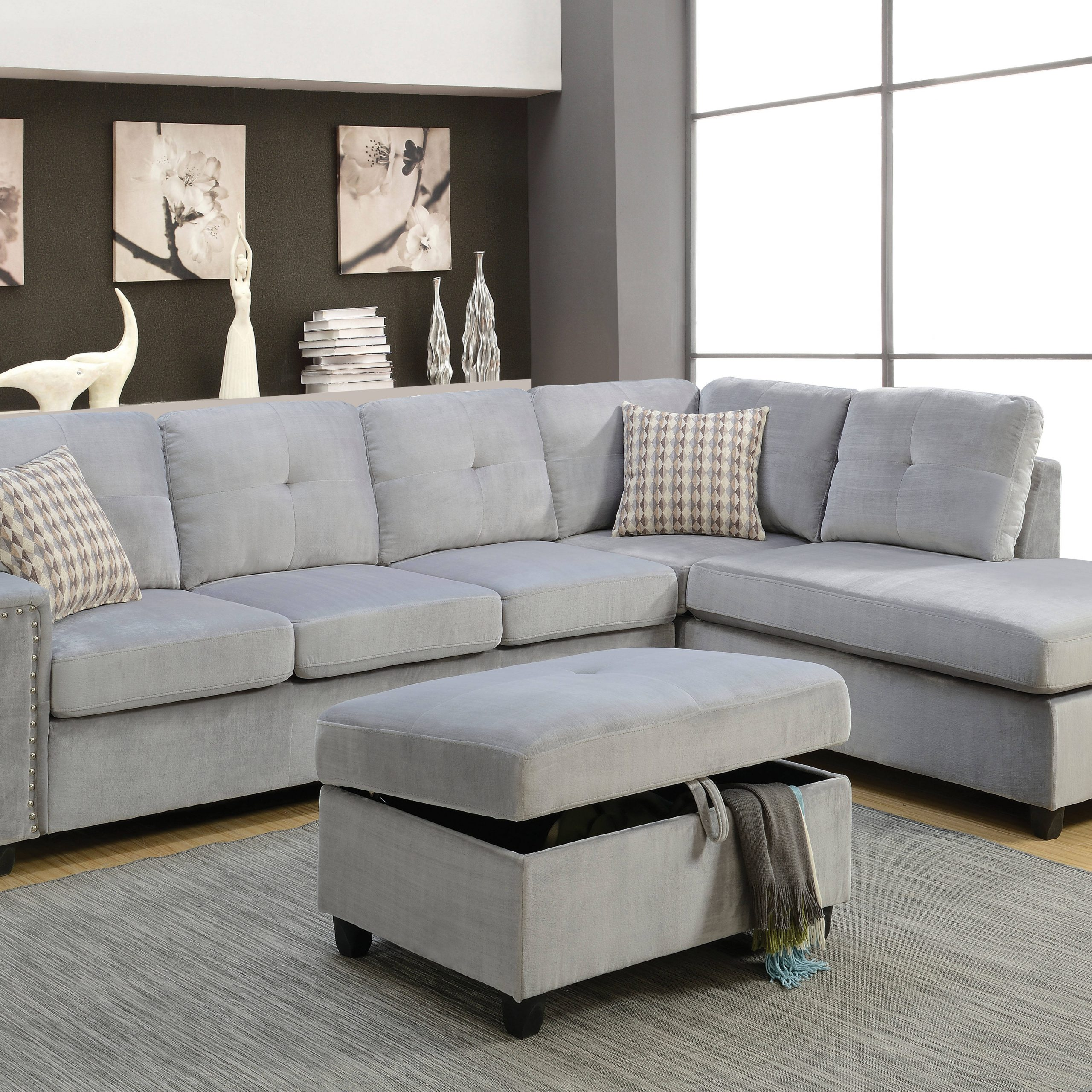 Acme Furniture Belville Gray Reversible Sectional Sofa Intended For Grey Sofa Chairs (View 9 of 15)