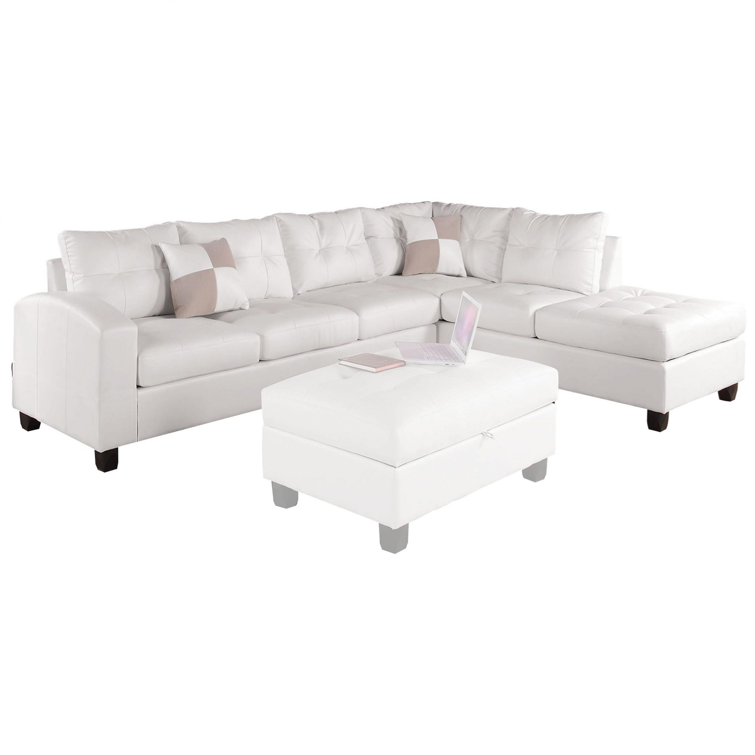 Acme Furniture Kiva Sectional Sofa W/2 Pillows (Reversible Throughout Clifton Reversible Sectional Sofas With Pillows (View 15 of 15)