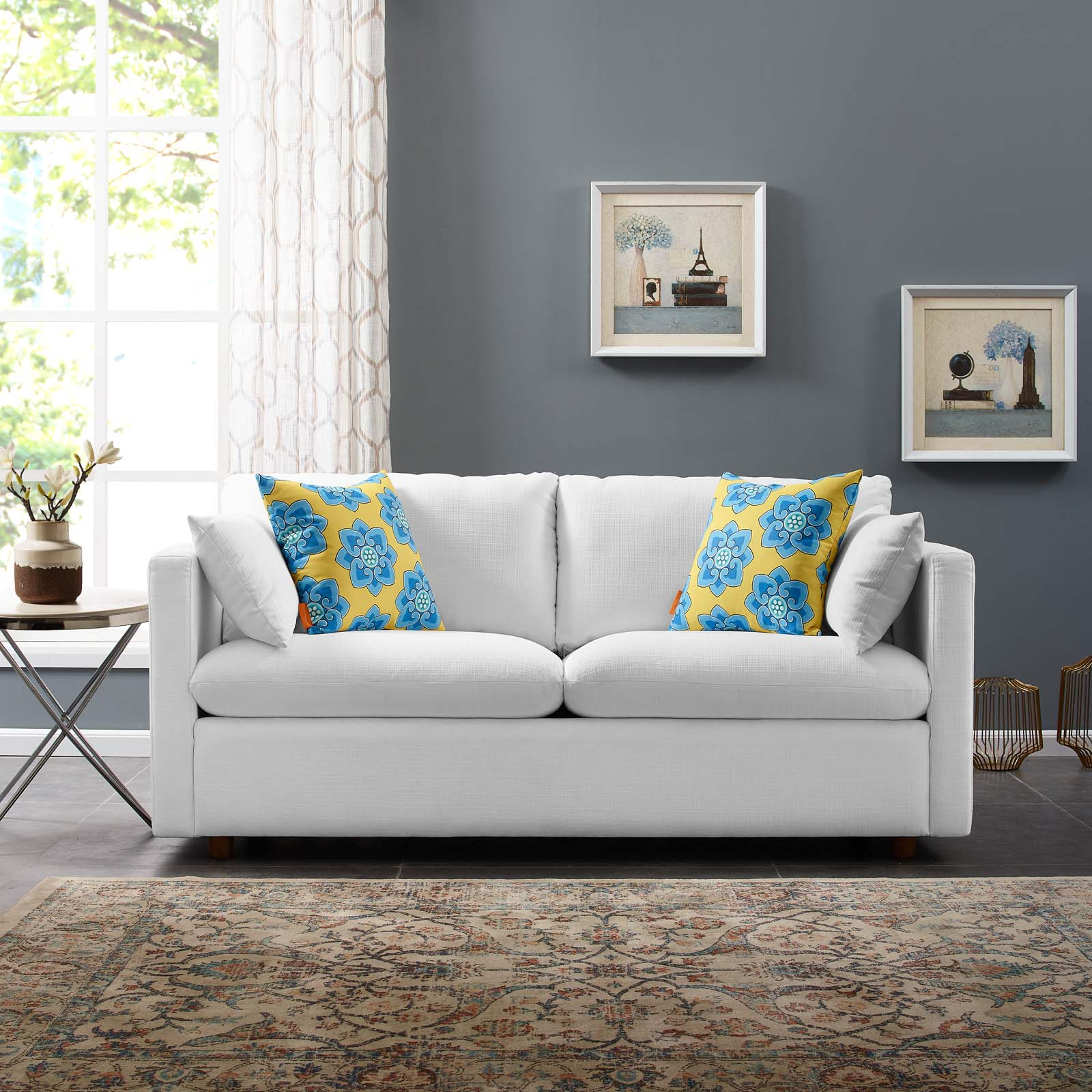 Activate Upholstered Fabric Sofa White Within Fabric Sofas (View 1 of 15)