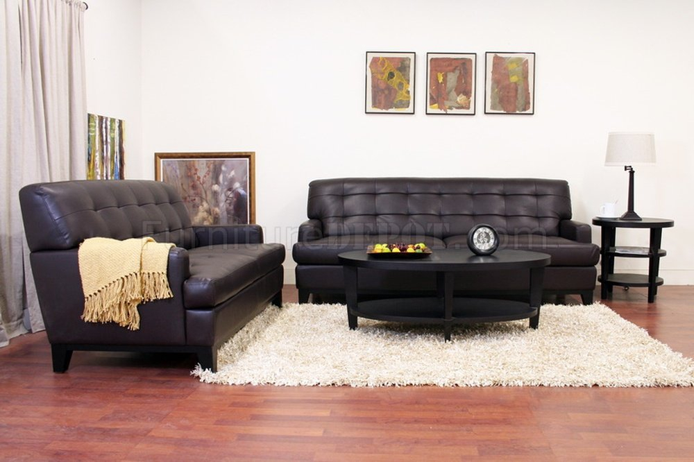 Adair Sofa Set In Brown Bonded Leatherwholesale Interiors With Bonded Leather All In One Sectional Sofas With Ottoman And 2 Pillows Brown (View 4 of 15)