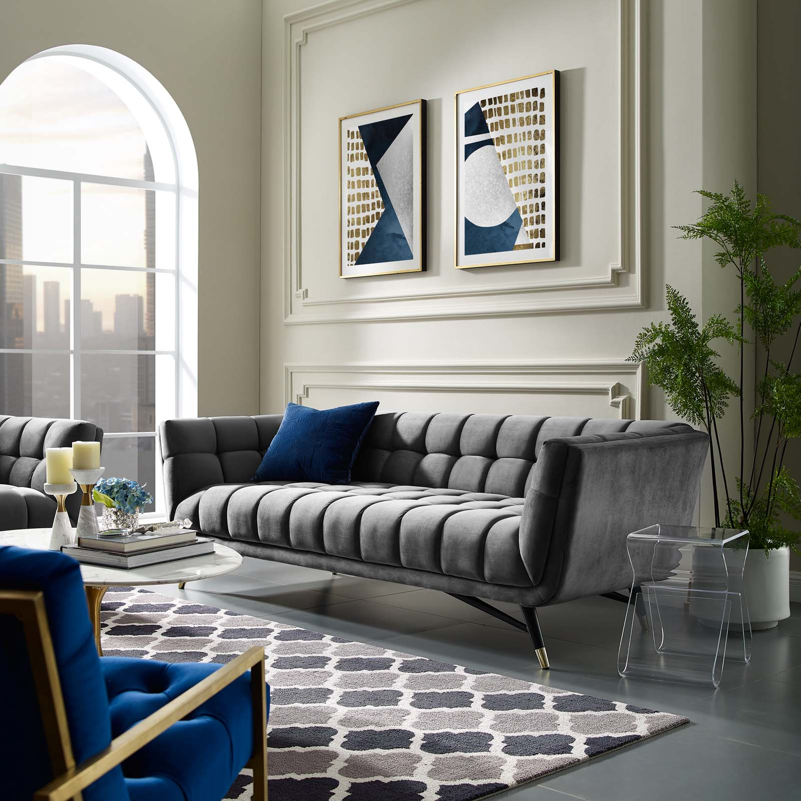 Adept Upholstered Velvet Sofa Gray For Sofas And Chairs (View 1 of 15)