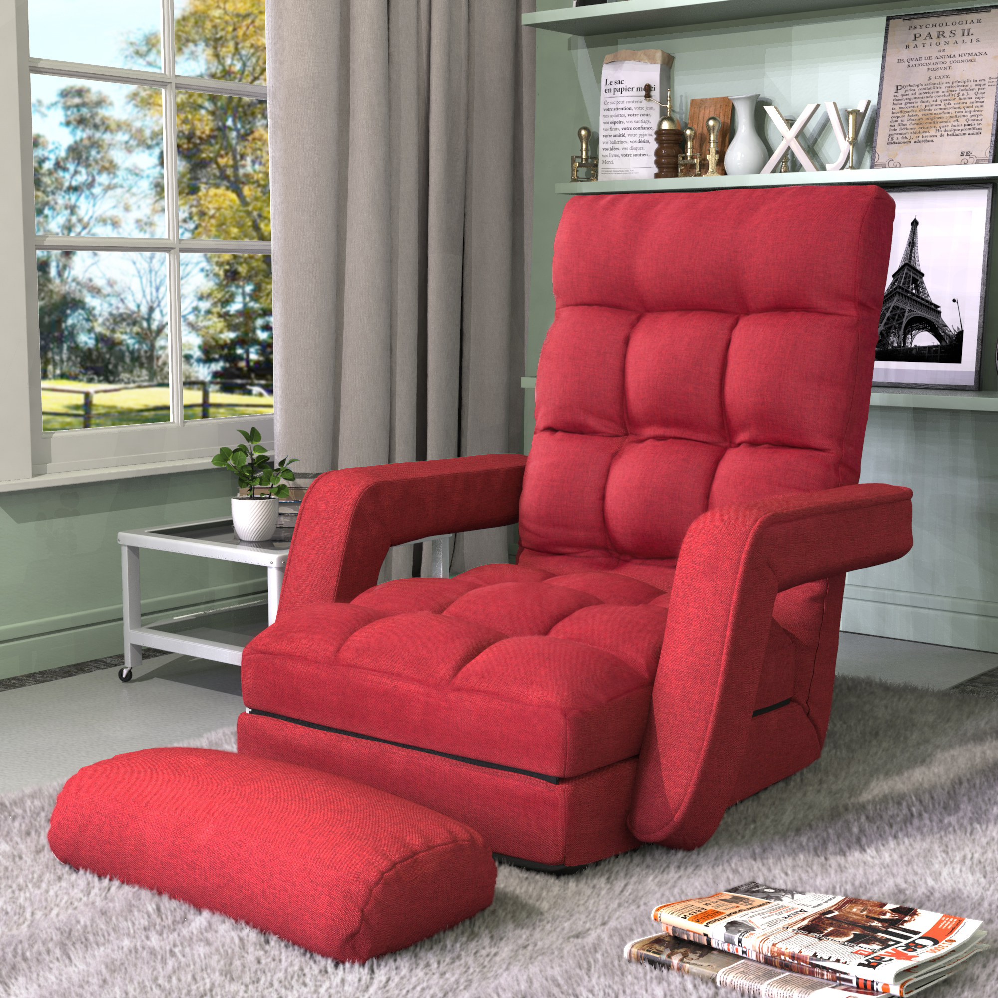 Adjustable 5 Position Floor Chair, Folding Lazy Sofa Floor With Regard To Lazy Sofa Chairs (View 6 of 15)