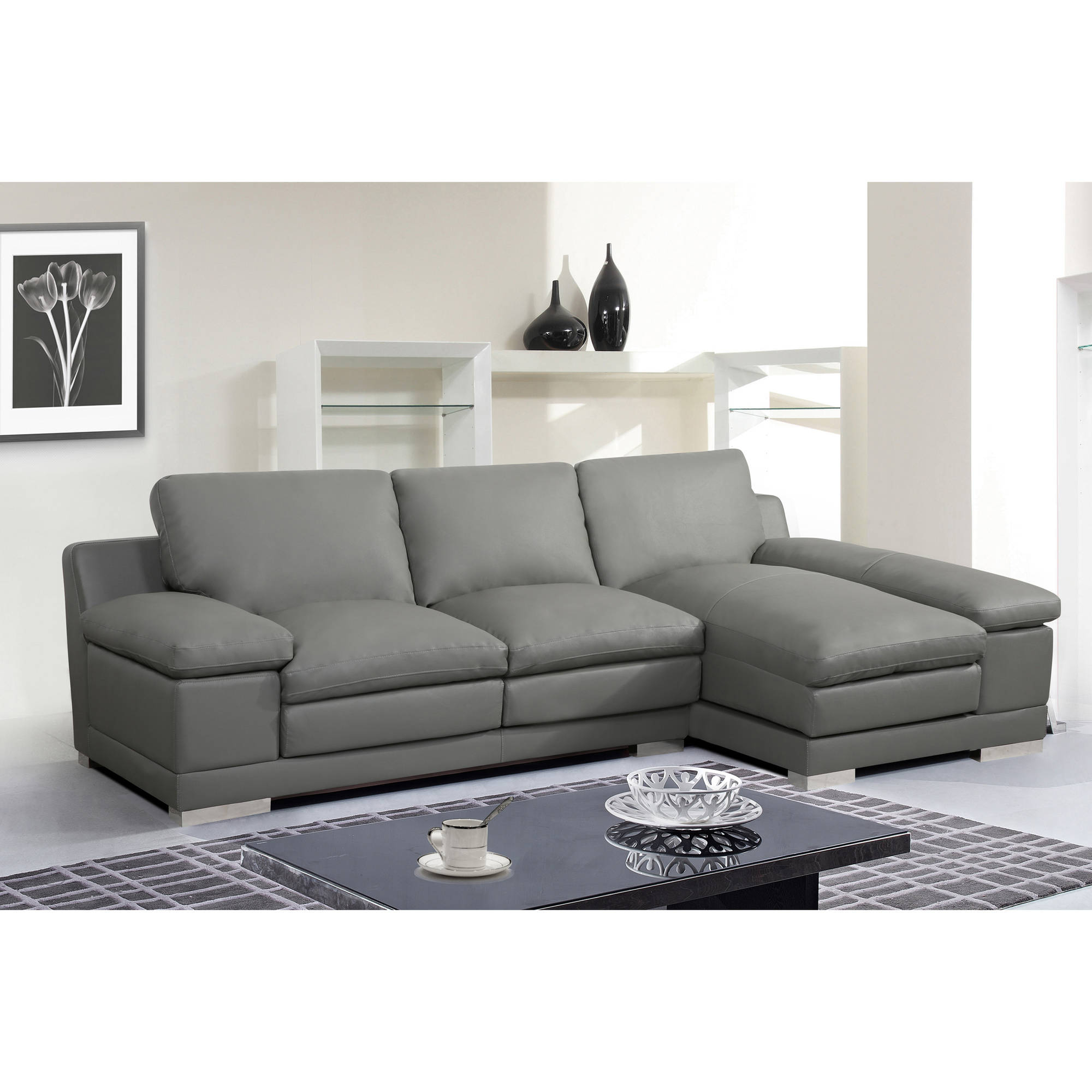 Adrian Contemporary Bonded Leather Right Facing 2 Piece Pertaining To Florence Mid Century Modern Right Sectional Sofas Cognac Tan (View 1 of 15)