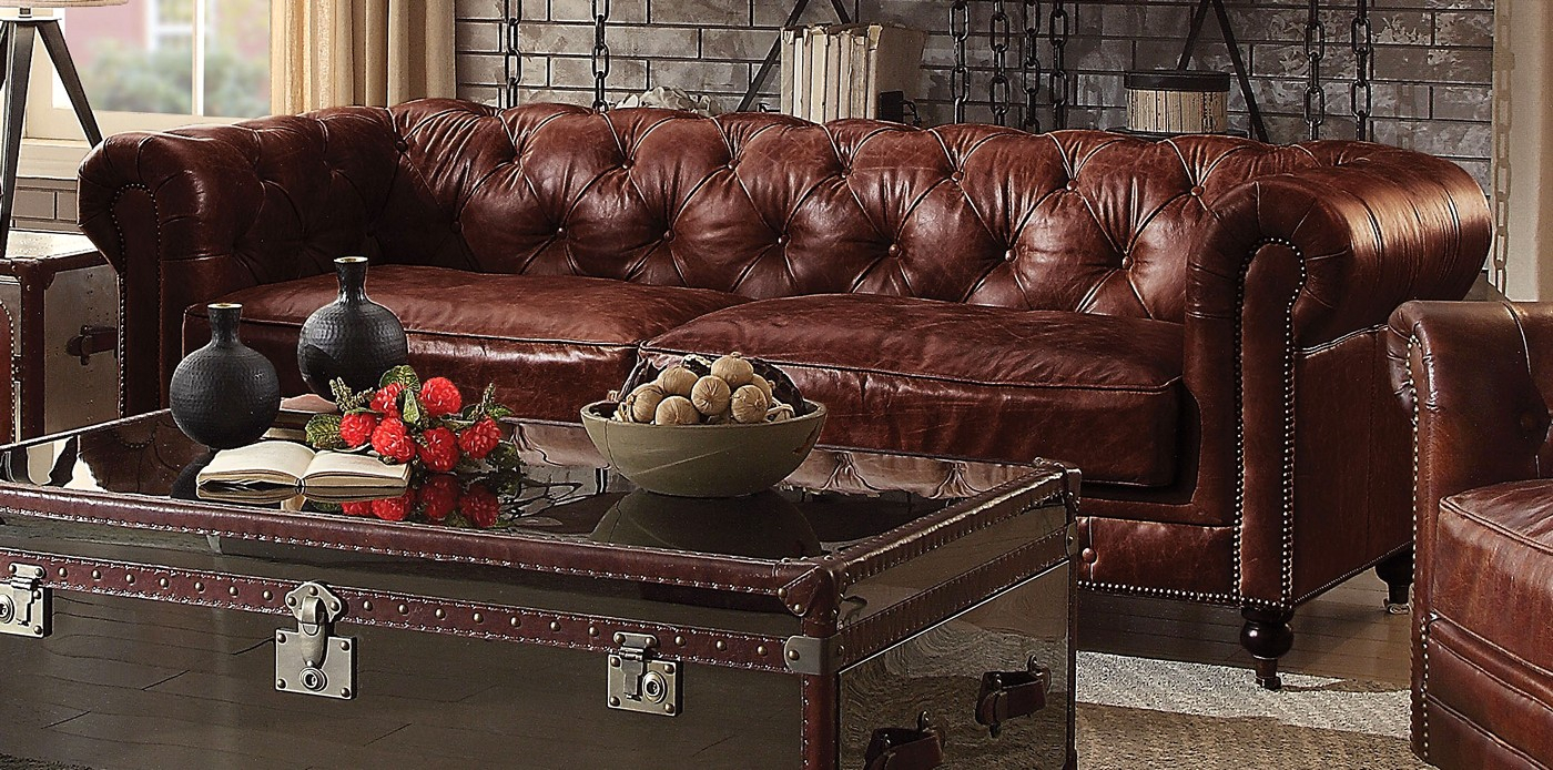 Alastair Vintage Chesterfield Sofa & Loveseat In Dark Pertaining To Vintage Chesterfield Sofas (View 9 of 15)