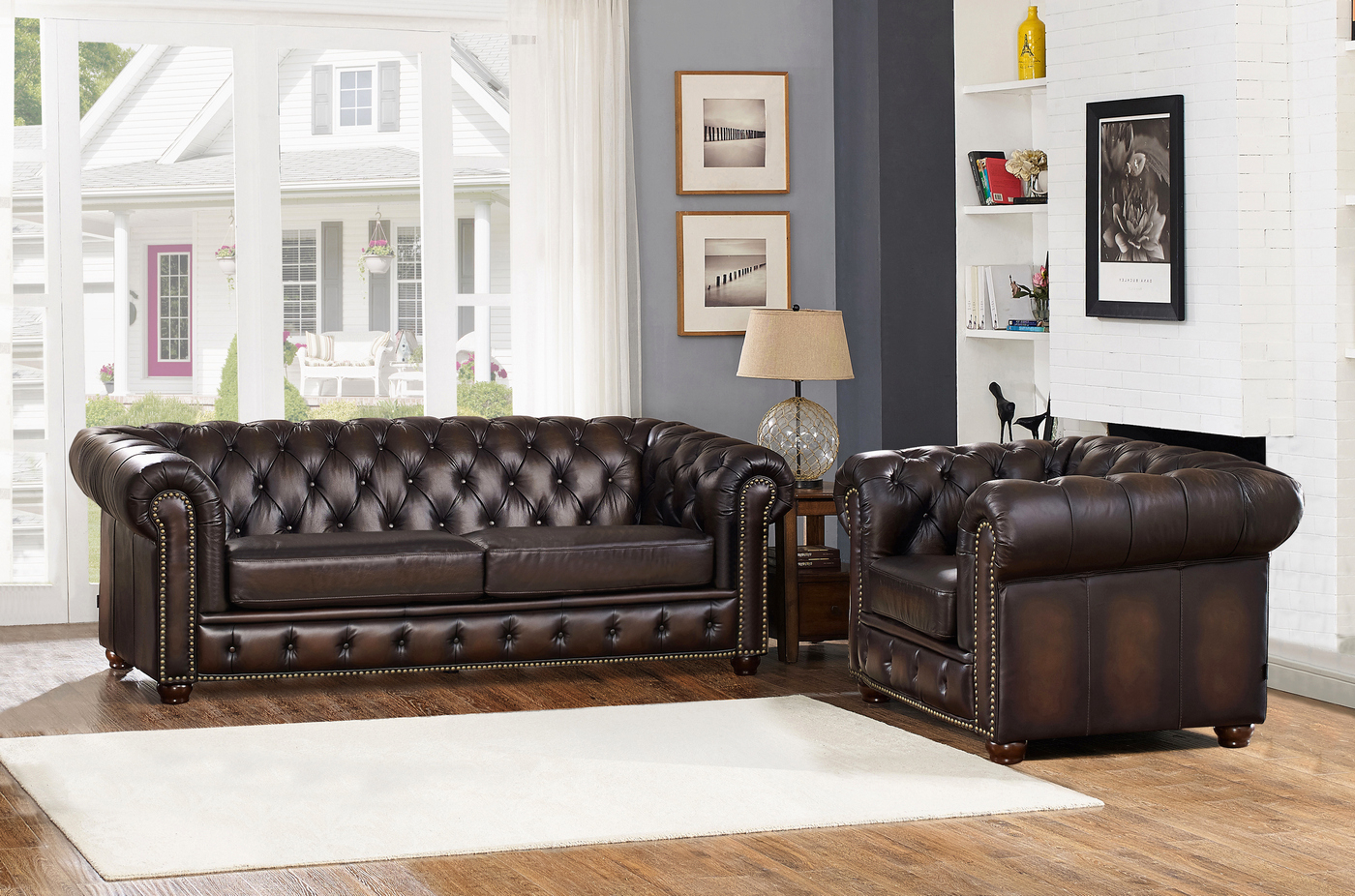 Albany Dark Brown Chesterfield Sofa & Chair In 100% For Leather Chesterfield Sofas (View 12 of 15)
