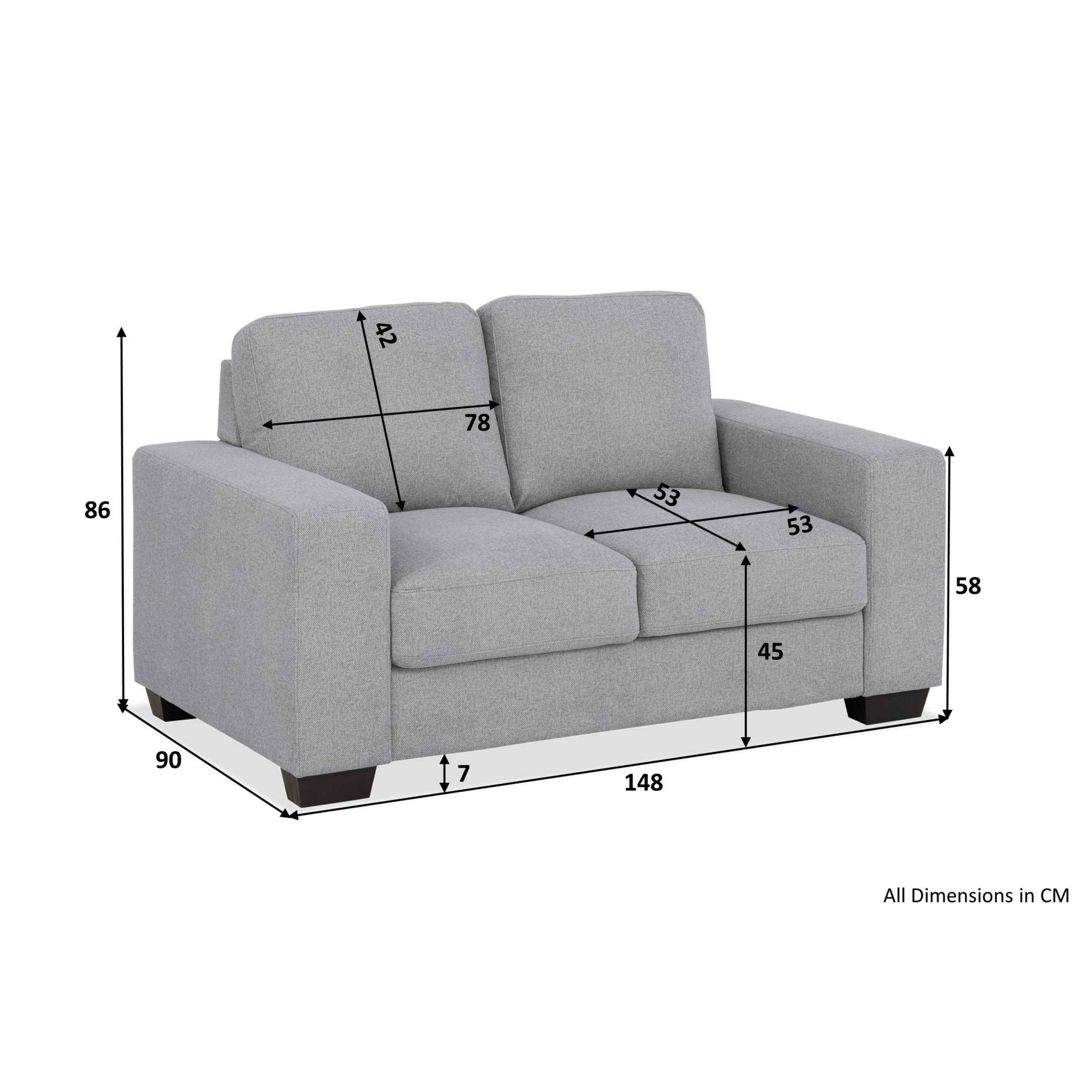 Alexis 2 Seater Sofa (Flat Dark Grey) – 2 Seaters – Sofas With Regard To Two Seater Sofas (View 5 of 15)