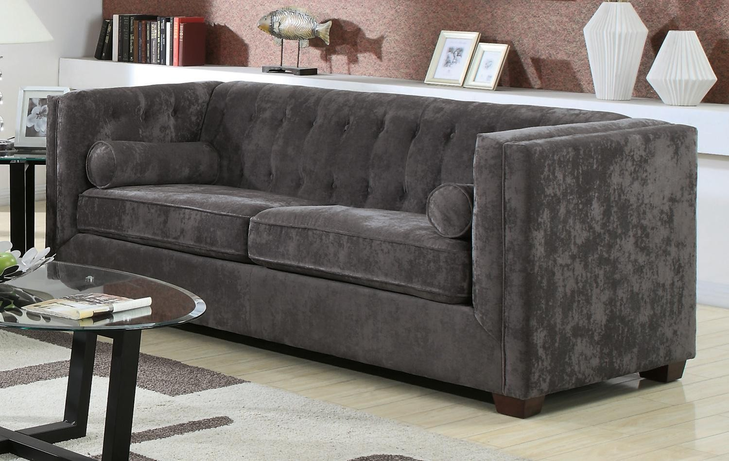 Alexis Charcoal Sofa From Coaster (504491) | Coleman Furniture Inside Charcoal Grey Sofas (View 13 of 15)