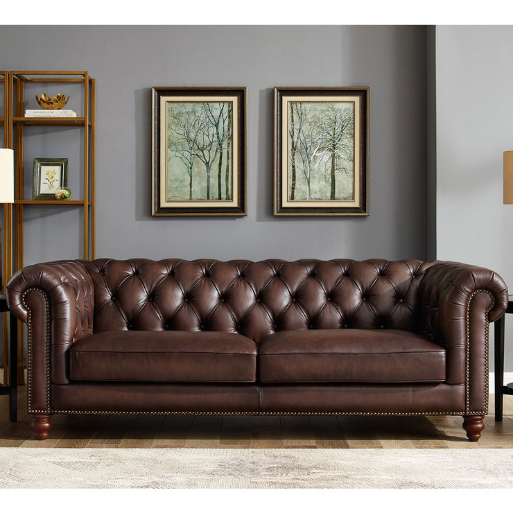 Allington 3 Seater Brown Leather Chesterfield Sofa | Costco Uk For 3 Seater Leather Sofas (View 5 of 15)