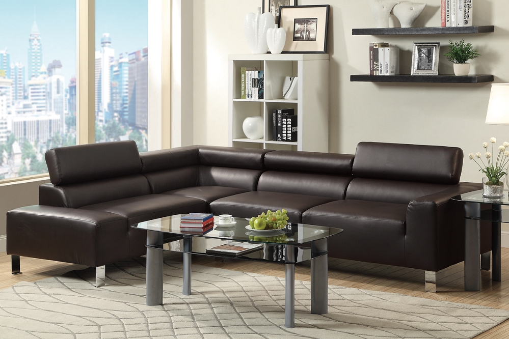 Alpha Lux Ii Espresso Bonded Leather Modern Sofa Sectional With Regard To 3Pc Bonded Leather Upholstered Wooden Sectional Sofas Brown (View 13 of 15)