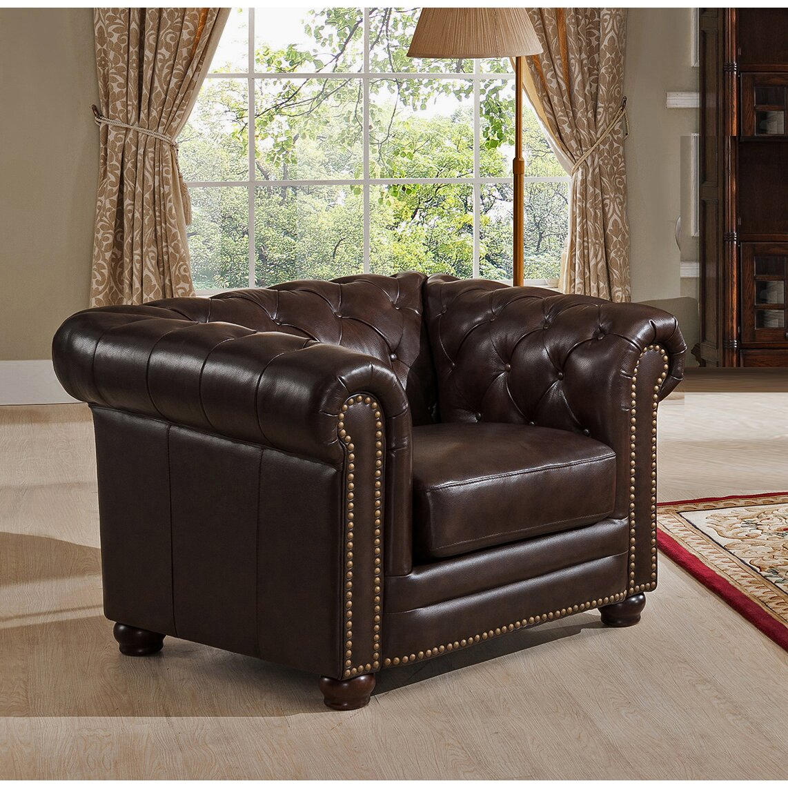 Amax Kensington Top Grain Leather Chesterfield Sofa And For Chesterfield Sofas And Chairs (View 15 of 15)