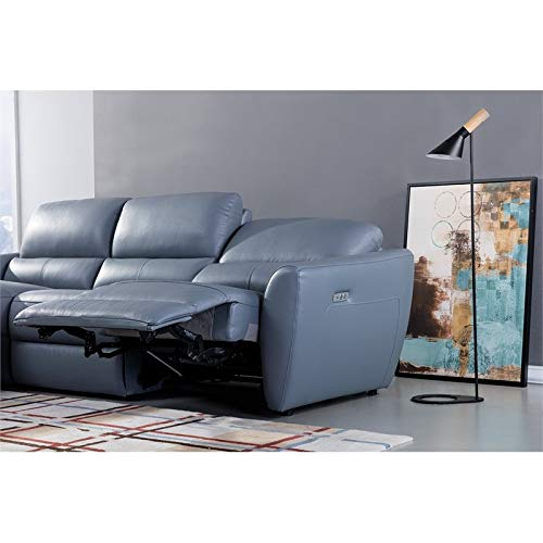 American Eagle Furniture Italian Leather Sectional In Blue Within Harmon Roll Arm Sectional Sofas (View 10 of 15)