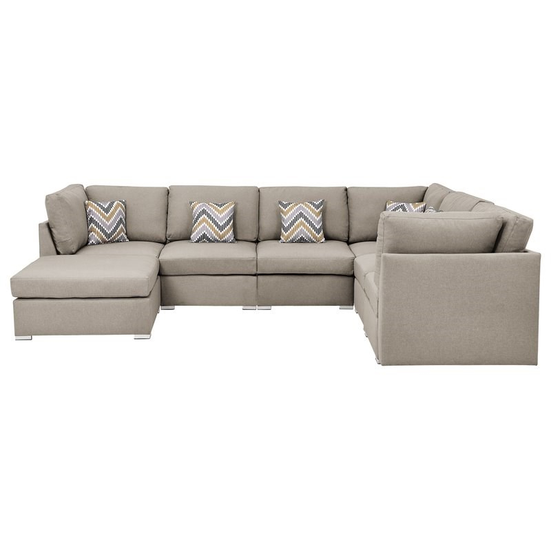 Amira Beige Fabric Reversible Modular Sectional Sofa With Intended For Clifton Reversible Sectional Sofas With Pillows (View 14 of 15)