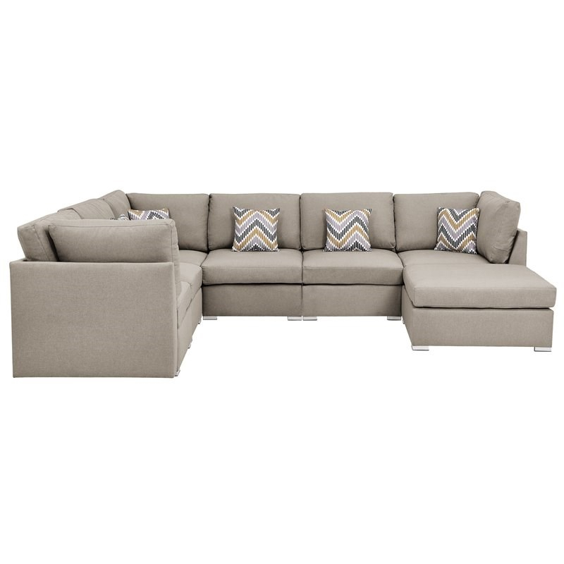 Amira Beige Fabric Reversible Modular Sectional Sofa With With Clifton Reversible Sectional Sofas With Pillows (View 11 of 15)