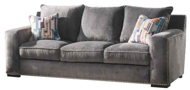 Anderson Contemporary Grey Chenille Sofa With Nailhead Regarding Radcliff Nailhead Trim Sectional Sofas Gray (View 10 of 15)