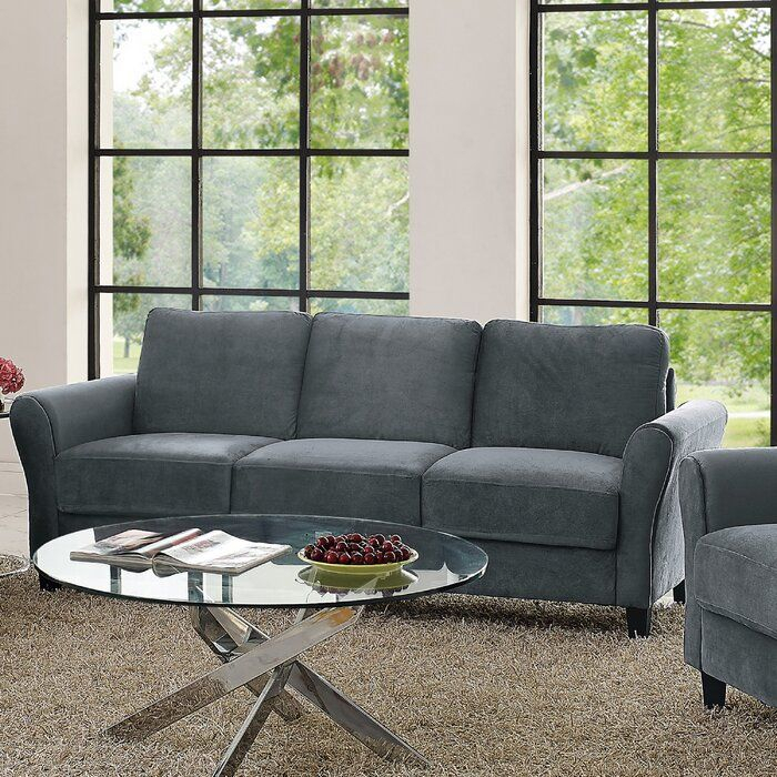 Andover Mills Celestia Rolled Arm Sofa & Reviews | Wayfair Regarding Gracie Navy Sofas (View 5 of 15)