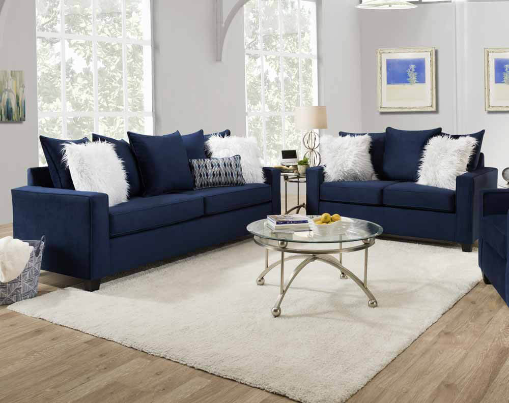 Andrew Indigo Blue Sofa And Loveseat | Urban Furniture Outlet In Blue Sofa Chairs (View 14 of 15)