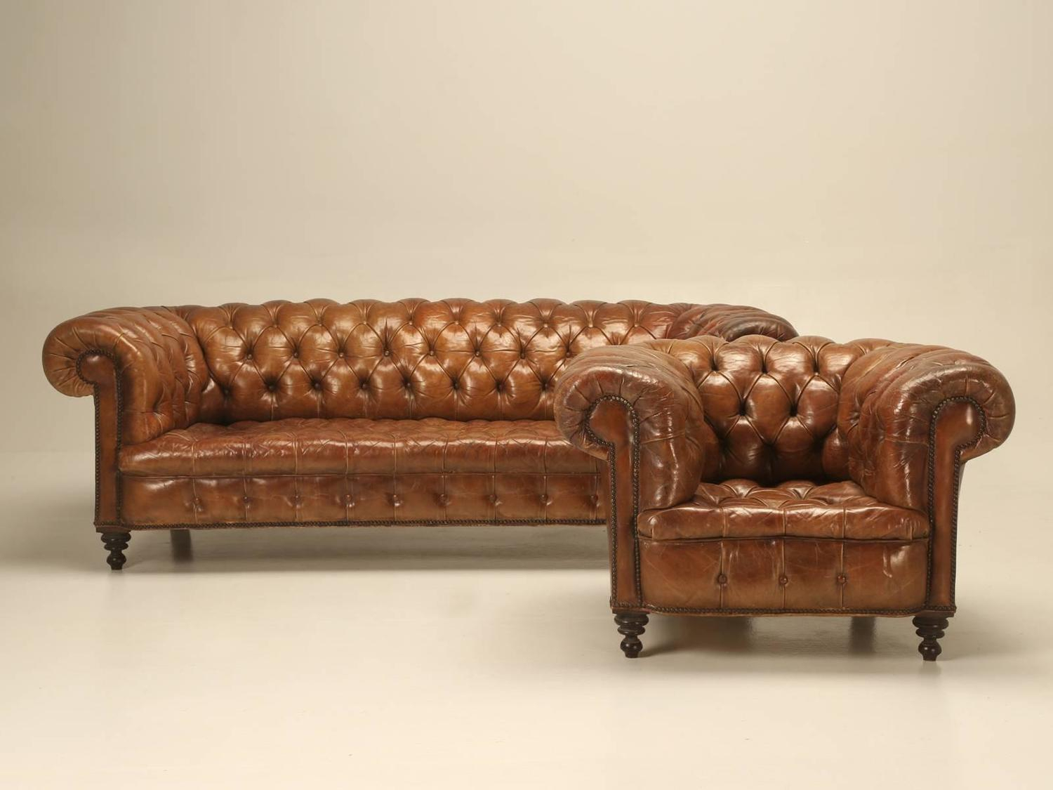 Antique Leather Chesterfield Sofa In Original Leather For Intended For Leather Chesterfield Sofas (View 5 of 15)